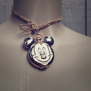 Vintage Mickey Mouse Pocket Watch Gold Disney